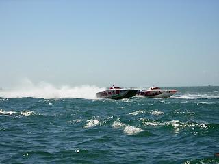 Power boats speeding past Key West hotel