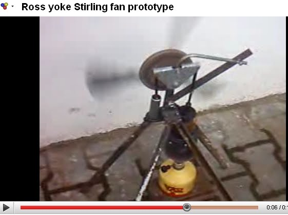 Ross yoke Stirling fan prototype