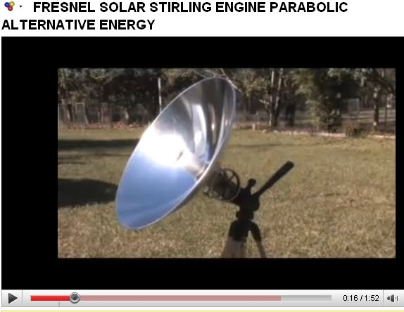 FRESNEL SOLAR STIRLING ENGINE PARABOLIC ALTERNATIVE ENERGY