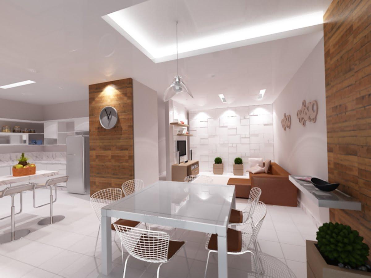 Living Sala de Jantar e Cozinha Integradas II #975E34 1200 900
