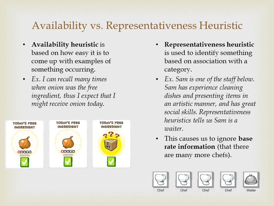 what is the difference between representative and availability heuristic 1 1 heuristics and biases (tversky and kahneman 1974) heuristics are used to reduce mental effort in decision making, but they may lead.