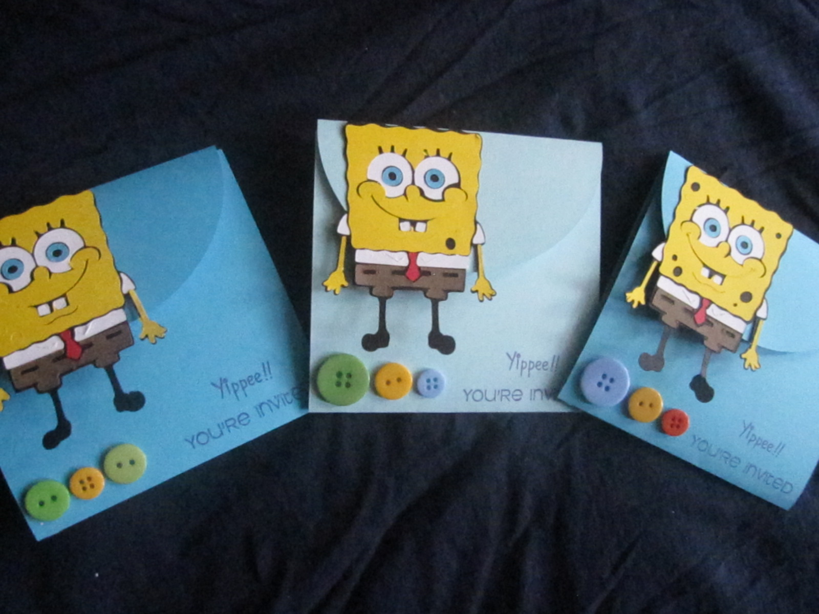 DENIM GLITTER CREATIONS SPONGEBOB BIRTHDAY INVITES