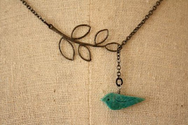 Carved Blue Birdie and Leaf Lariat with Gunmetal Chain