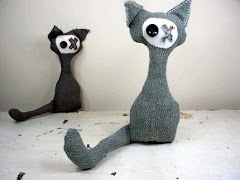 Skip the Plush Cat Made from Upcycled, Recycled, and Eco Friendly Materials.