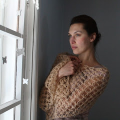 Crocheted Solomon&#39;s knot mohair shawl/scarf in beige