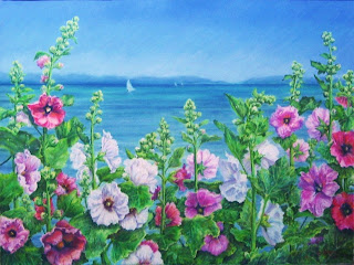 pastel painting with hollyhocks and sailboats at Lakeside, Ohio Lake Erie