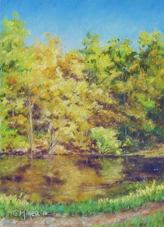 pastel painting of fall colors and pond, The Wilderness Center