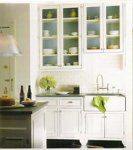 faucet, white cabinets and again with the green! my kind of kitchen