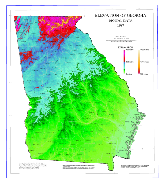 State of Georgia Elevation Map