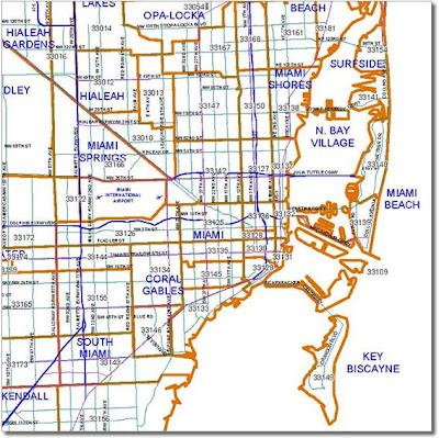 Mapa de Zip Codes en Miami-Dade