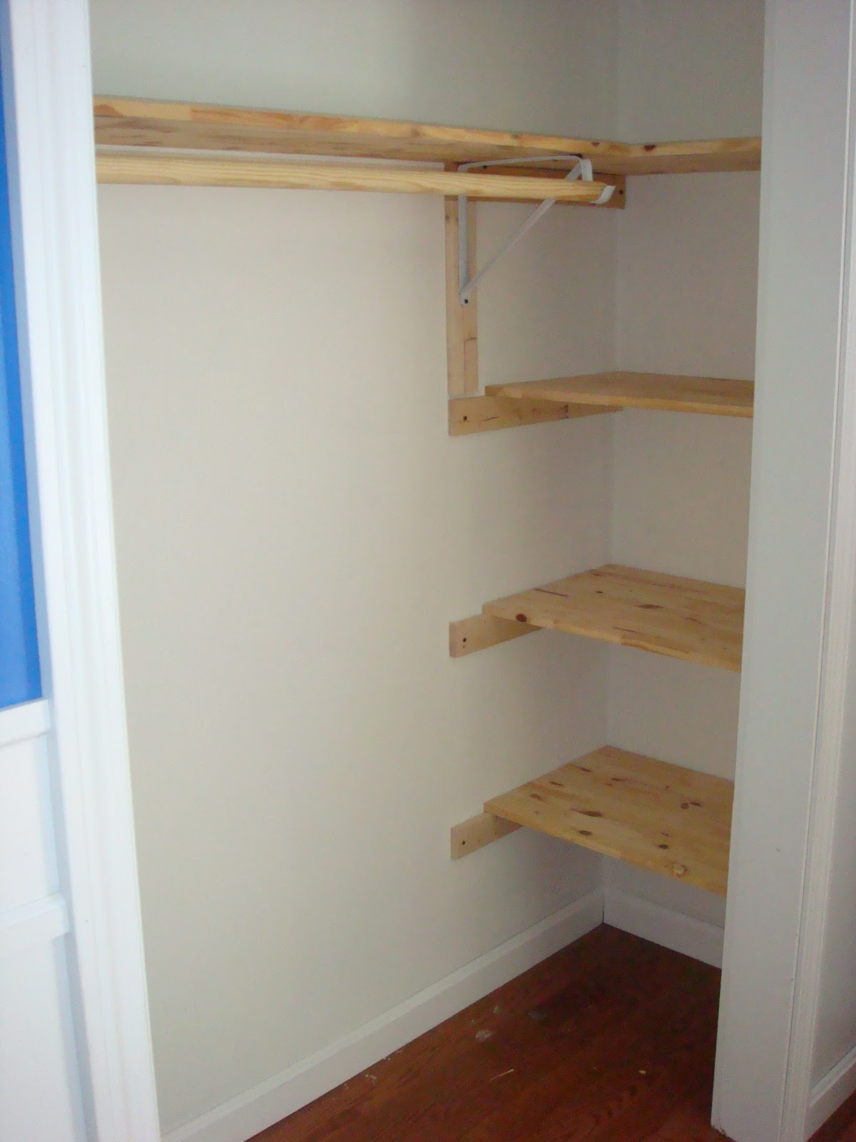 Handy man crafty woman handy boy39s closet before after for Closet shelving ideas