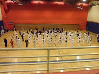 Approximately 87 students prepare for the black belt test 11/20/2010, Fairview, Oregon