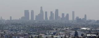 The smog-infused LA skyline