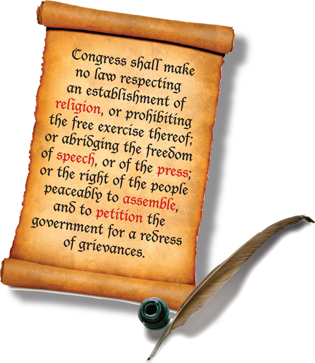 the first ammendment Congress shall make no law respecting an establishment of religion, or prohibiting the free exercise thereof or abridging the freedom of speech, or of the press, or the right of the people peaceably to assemble, and to petition the government for redress of grievances first amendment, us constitution.