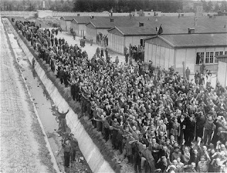 photo of dachau survivors lining up to welcome American soldiers