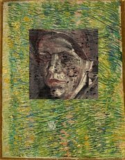 concealed portrait under patch of grass painting