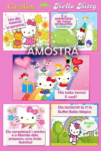 convite infantil gibi Hello Kitty