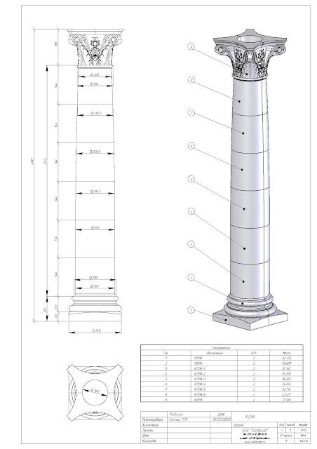 Columna Corintia en 3D_ Corinthian columns 3D_Colonne corinthienne en 3D