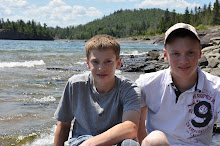 My boys sitting on the north shore of Lake Superior