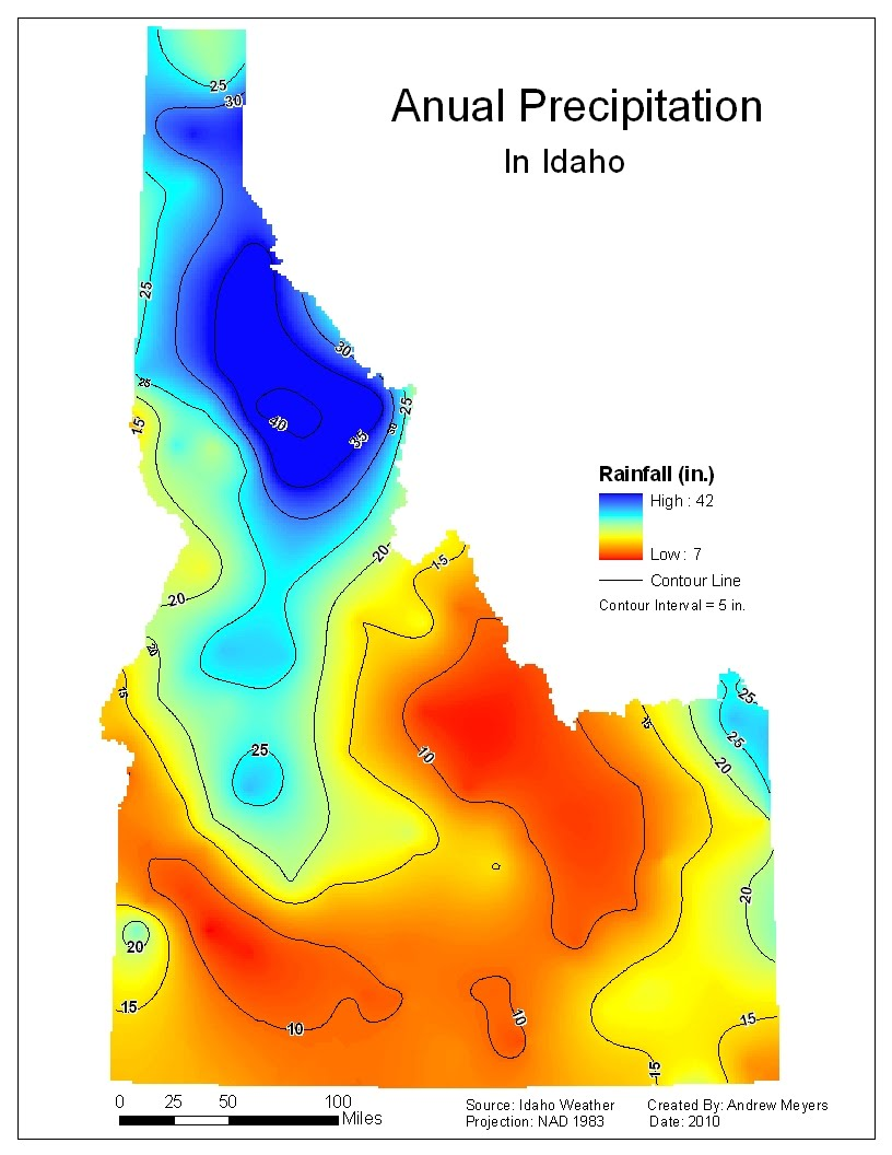 krging map rainfall in idaho