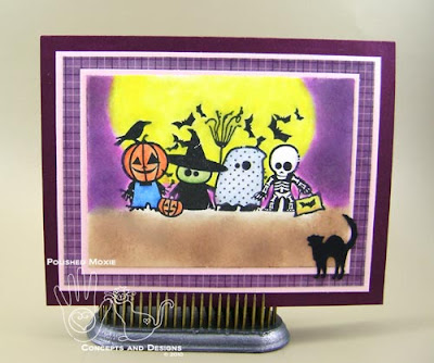 Picture of handmade Trick or Treaters Halloween Card