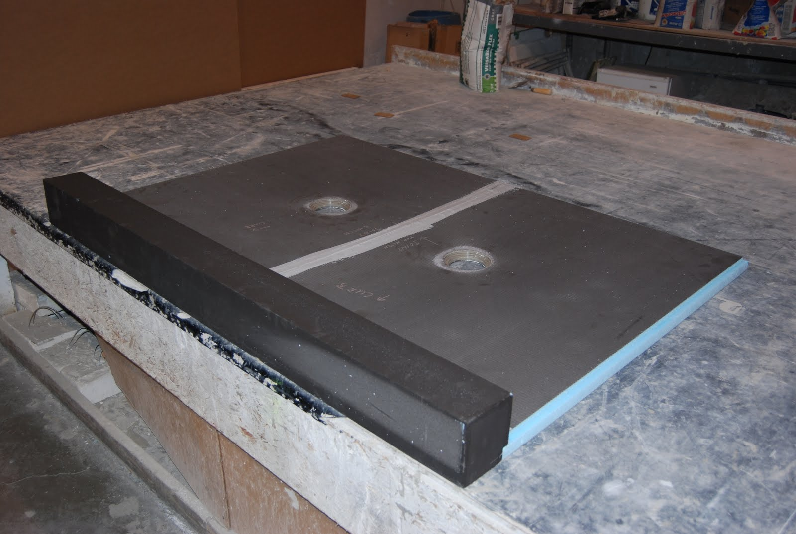 Custom Wedi Double Drain Shower Pan For High Water Flow Showers