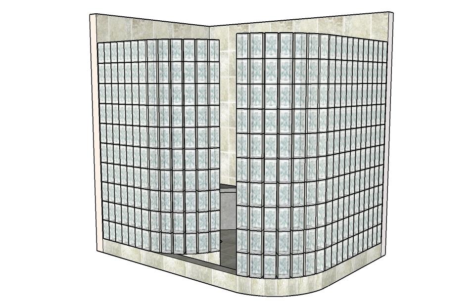 Ready-4-Tile Glass Block Shower Kit using a Custom wedi Riolito ...