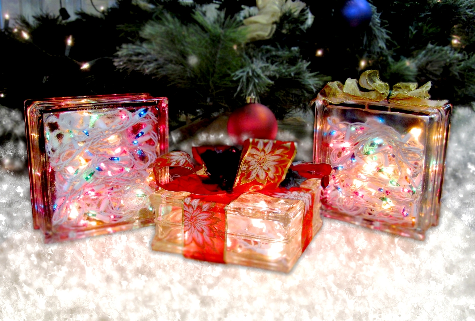 with a diamond coated drill bit and a steady hand almost any glass block can be used to create lighted blocks however seattle glass block has a couple of - Glass Block Christmas Decorations