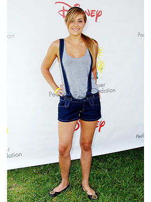 Lauren Conrad wearing a pair of Siwy short overalls