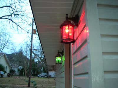 Last Year I Found Green Light Bulbs And Red Light Bulbs At Piggly Wiggly. I  Think They Were $1 Each. We Put Them In All The Outbuilding Porch Lights  And ... Home Design Ideas