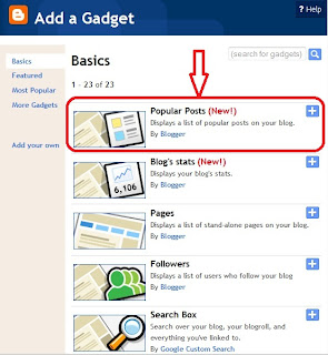 add Popular post gadget with thumbnail in blogger