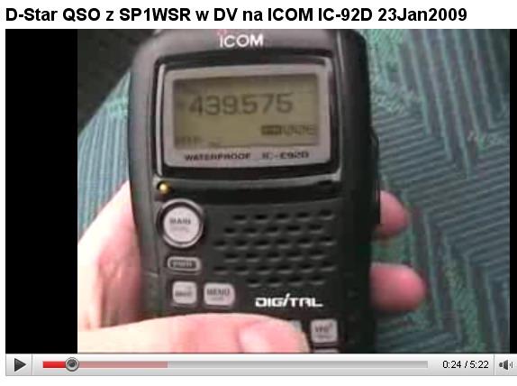 D-Star (DV) QSO SQ1BHQ/M<>SP1WSR/P 23 Stycznia 2009