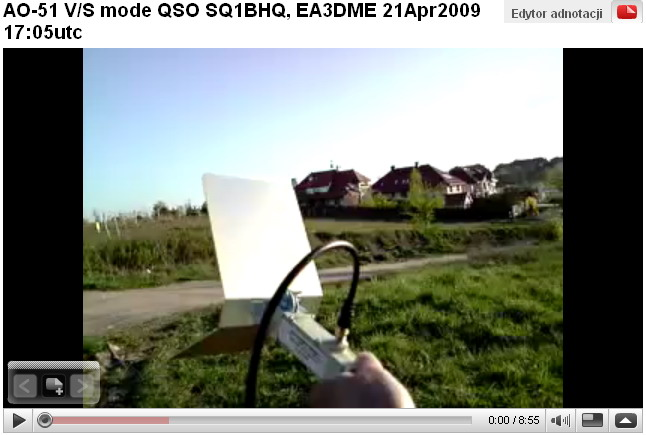AO-51 V/S mode QSO SQ1BHQ, EA3DME 21Apr2009 17:05utc