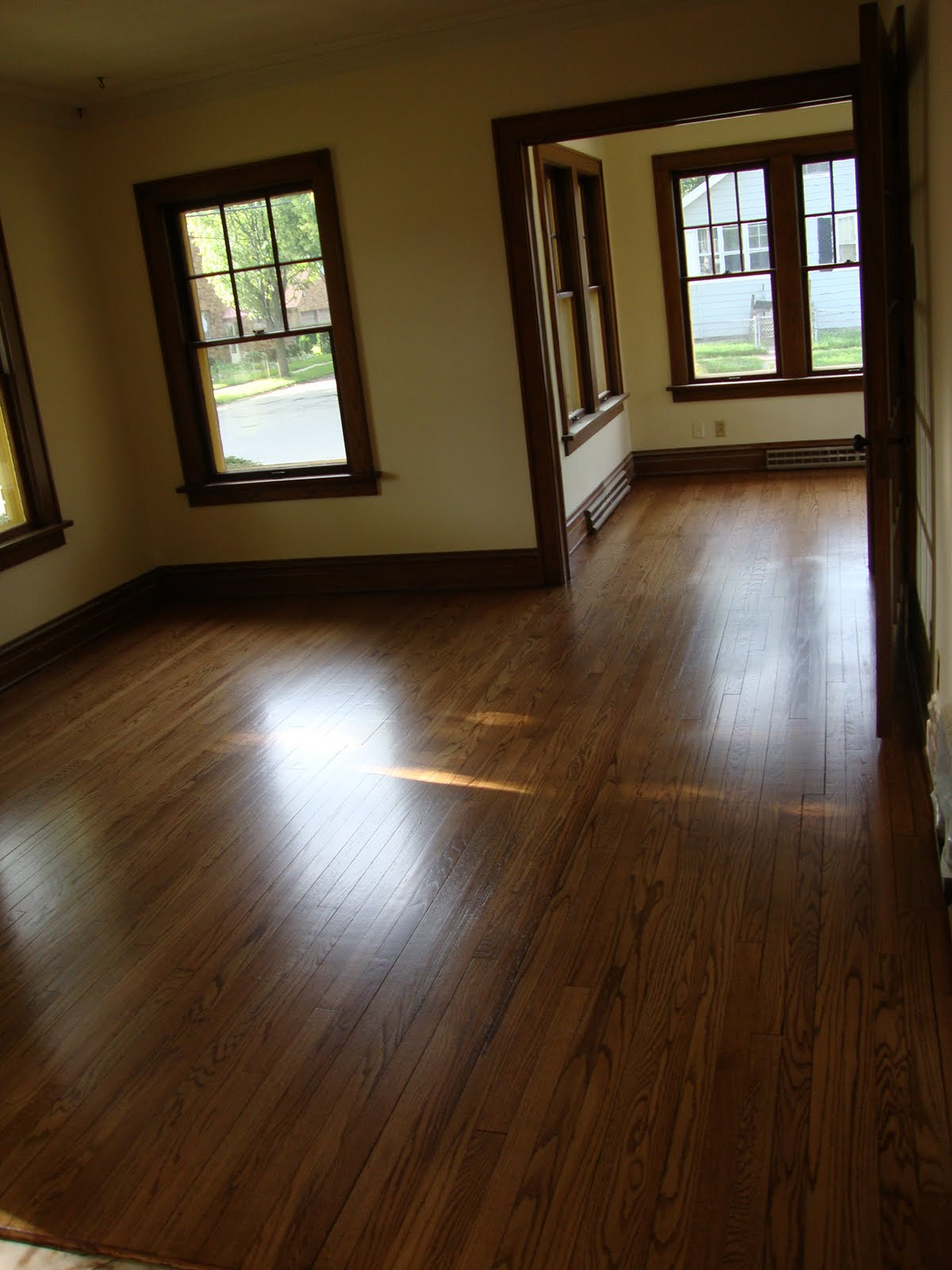 Dark Hardwood Floors with Wood Trim