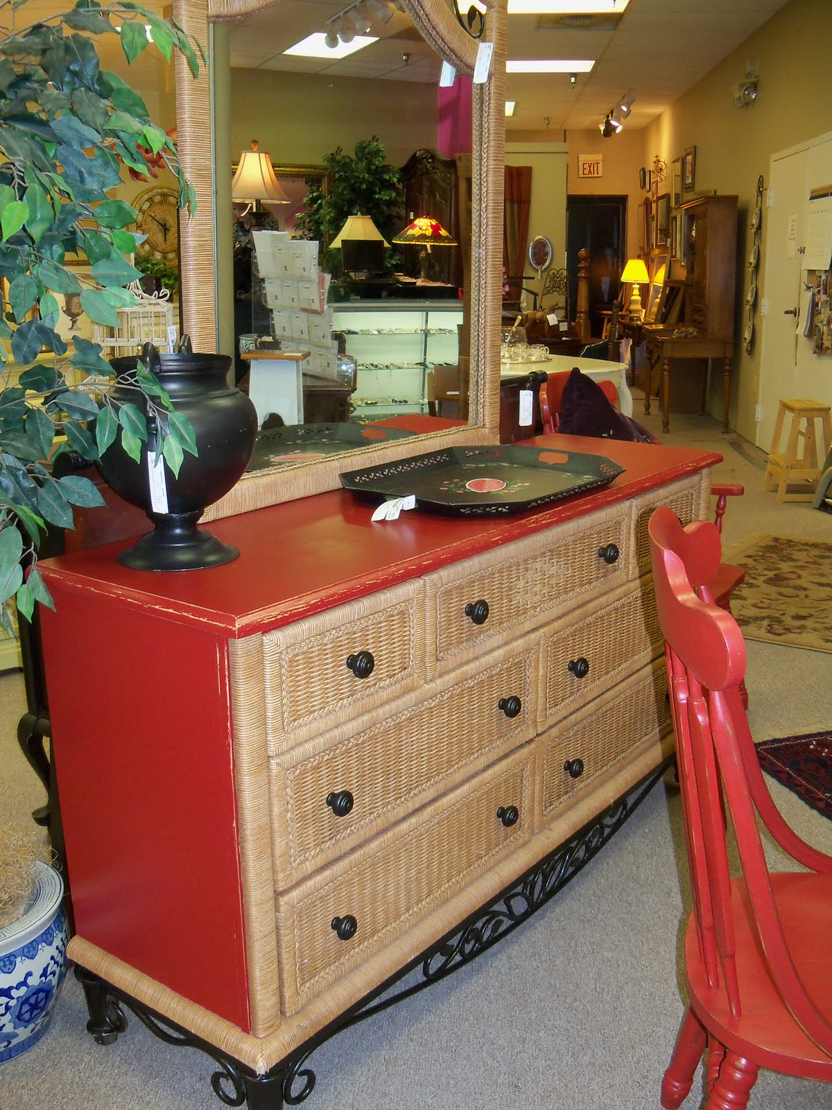 painted red furniture. Wicker Dresser With Mirror, Painted RED Red Furniture