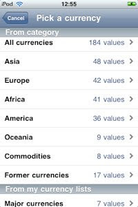 Currency Pad - spoilt for choice on currencies