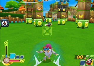 Robo Smasher is a free online multi-player game that combines third-person shooter action with block-moving strategy. You can battle in up-to-6-person matches controlling an avatar piloted robot (mechro).