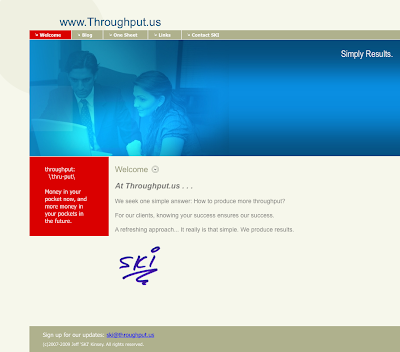 Jeff SKI Kinsey's new web site for Throughput.us