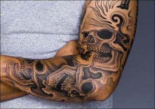 tattooed skull shoulder tattoo ideas