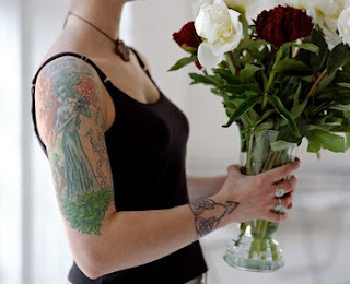 beautiful girl tattoo and flower