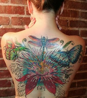 butterfly Tattoo on the back girl