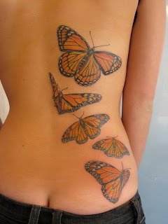 color butterfly tattoo girl body sexy