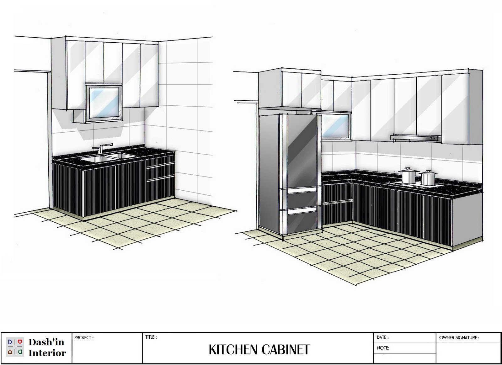 Hand Drawn Line Drawing of Kitchen Cabinets