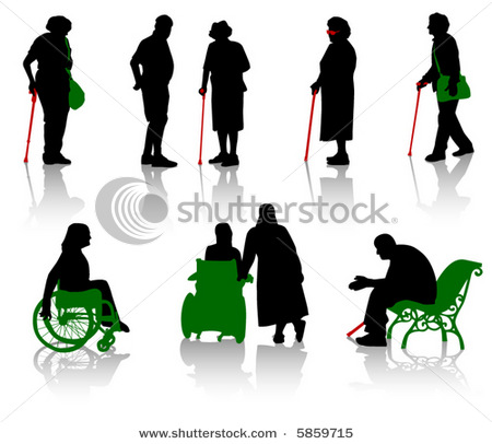 Stock vector silhouette of old people and disabled persons 5859715