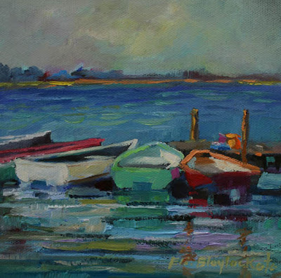 oil painting of boats on