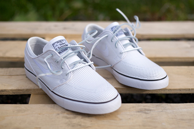 26fb171b5e39 Stefan Janoski s signature boat shoe inspired SBs are out in a perforated  white leather just in time for summer. This could be a great option for a  pair of ...