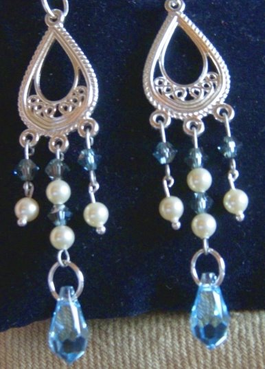Aquamarine Swarovsky earrings