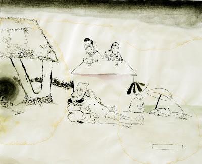 Kay Treysse,Sieben geblieben, Japantusche und Aquarell auf Reispapier