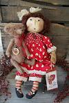 Prim Valentine Doll & Bear