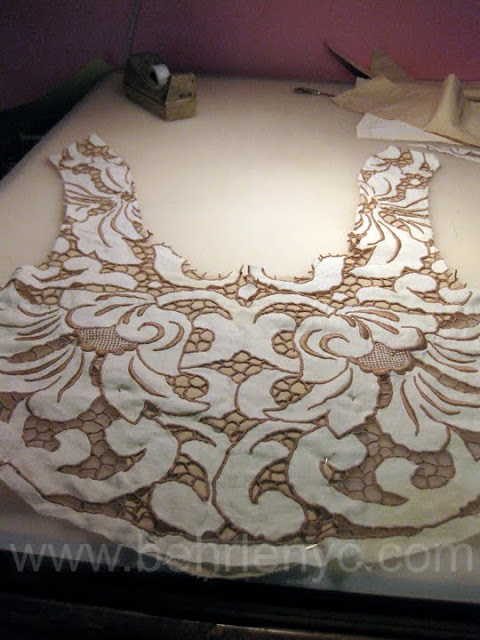 custom made wedding dress cutwork lace front